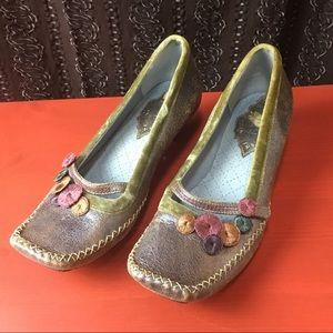 Indigo Boho Shoes periwinkle metallic leather